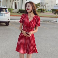 female dress one-piece polka dots short dress frill flounced V-neck collar flare sleeve single-breasted red code 9181913 Polka Dot Short Dresses, Female Dress, Dress Making Patterns, Daily Dress, Neck Collar, Summer Of Love, Dress First, Dot Dress, Single Breasted
