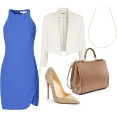 Outfit white blazer+blue dress+neutral pumps and bag