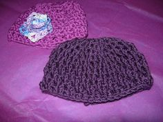 Crochet caps made for Click for Babies charity.