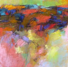Abstracted Landscape in Red and Green 15x15 pastel on paper www.deboralstewart.com-available through Iowa Artisans Gallery