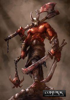 Cull the weak by mattforsyth on DeviantArt Character Concept, Character Art, Concept Art, Character Design, Fantasy Demon, Fantasy Warrior, Dark Creatures, Fantasy Creatures, Love Monster