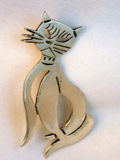 Vintage Sterling Mexico Cat Brooch