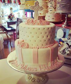 Pink & white communion cakewww.facebook.com #carinaedolce    www.carinaedolce.com Communion, Pink White, Cakes, Facebook, Desserts, Food, Meal, Deserts, Essen
