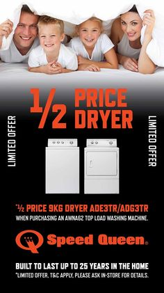 Purchase a Speed Queen Washer & Dryer Laundry Package* and Speed Queen is offering you a ½ price clothes dryer when you purchase the AWNA62 washer.  AWNA62 washer $2,495.00 + ADE3TR or ADG3TR-GAS dryer $995.00 = Total Package $3,490.00*   That equates to $1,000.00 off the price if purchased separately.  - http://svc028.wic052p.server-web.com/page59.aspx
