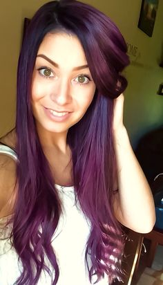 My deep violet hair. The best hair dye for a shiny and… Deep Violet Hair, Violet Hair Colors, Plum Hair, Hair Color Purple, Burgundy Hair, Hair Color And Cut, Elumen Hair Color, Hair Colours, Eye Color