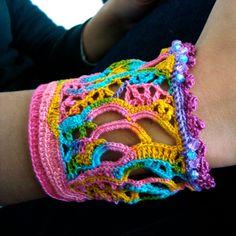 cuff crochet freeform Rainbow. via Etsy.