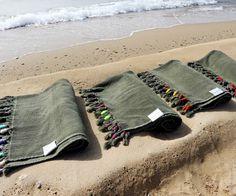 HIGHLAND army beach peshtowel- with colored tassels   Cleo Gatzeli