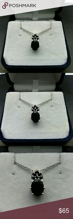 3.50ctw genuine Black Spinel 925 sterling s ilver Authentic genuine 3.50 carats Black Spinel. Solid 925 sterling silver designer pendant. Comes with stainless steel chain. estate 925 Jewelry Necklaces
