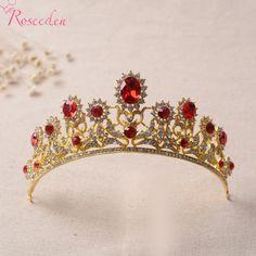 red rhinestone bridal wediing tiaras crowns high quality  tiaras wedding hair accessories tiara de noiva RE493