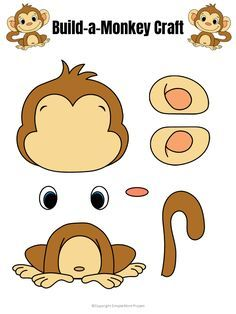 Click and print to make this super cute and easy baby monkey craft! He comes with two free printable monkey templates and is perfect for kids of all ages; including preschoolers, kindergartners and toddlers. Use him for a class project, an activity before a trip to the zoo or in your homeschool jungle unit! #monkeycrafts #papermonkeycraft #printablemonkeycraft #SimpleMomProject Safari Crafts, Animal Crafts For Kids, Toddler Crafts, Toddler Activities, Preschool Activities, Art For Kids, Kids Crafts, Jungle Crafts Kids, Printable Activities For Kids