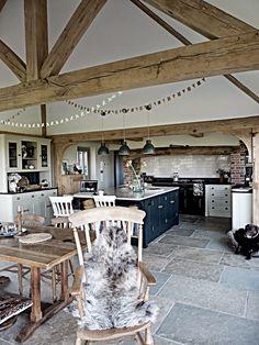 sarah-jane down the lane Barn Kitchen, Kitchen Time, Open Plan Kitchen, Kitchen Dinning, Country Kitchen, A Frame House, Cottage Kitchens, Home Kitchens, Cottage Interiors