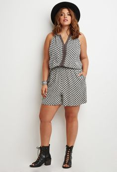Plus Size Abstract Print Embroidered Romper