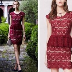 """Anthropologie Elsa Peplum Dress Beautiful lace dress and a striking color. I always get compliments on this piece. Running out of occasions to wear it, so hoping to send this lovely dress to a new home.   Back Zip, approximately 37"""" in length Anthropologie Dresses"""
