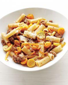 ... and crookneck squash make for a striking golden summer pasta dish