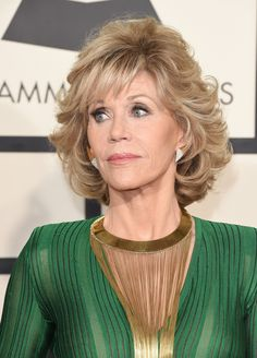 Jane Fonda Curled Out Bob - Jane Fonda attended the Grammys wearing her hair in a curled-out bob.
