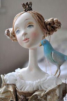 Авторская кукла Мечты о Синей птице - бежевый,голубой,принцесса,кукла ручной работы
