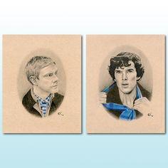 Sherlock and Watson Print Set | Benedict Cumberbatch & Martin Freeman