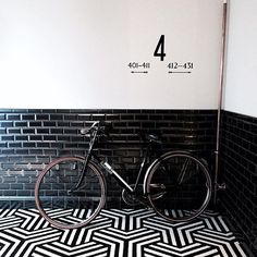 striped hexagon tiles black + white floor
