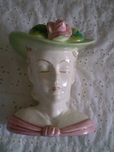 Lovely  Vintage  Lady Head Vase