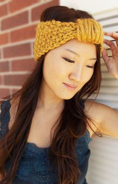 Women's Headband Gold Turban Mustard Cinched Headwrap Seed Stitched Yellow Earwarmer on Etsy, $17.95