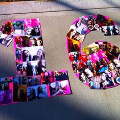 Arrange pictures of the girl's life through her 16 years in the shape of a 16. Nice idea for a Sweet 16.