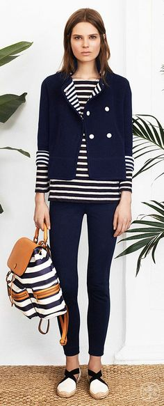 Punctuate navy with bands of bright white   Tory Burch Spring 2014