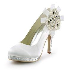 Perlen blume satin runde kappe niedrigen high heels plattform pumpt dame schuhe der klassischen brautkleid pumpen brautjungfer stilettos RR-107 YY //Price: $US $52.40 & FREE Shipping //     #dazzup
