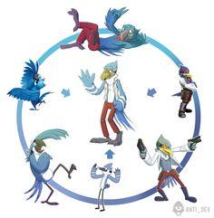 Anti_dev's fusion of Mordecai (Regular Show), Falco Lombardi (Star Fox) and Blu (Rio)