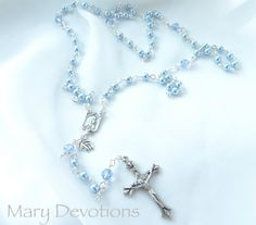 Silver and Baby Blue Pearl and Crystal rosary by MaryDevotions