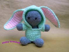 Inchoate Bunny Hoodie by ItchyCrochetDesigns on Etsy