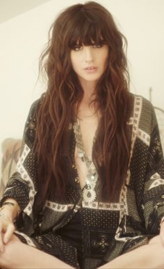 Modern Boho Hair With Messy Straight Fringe