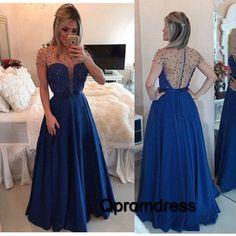 Cute see-through back blue chiffon prom dress, long ball gown 2016 #coniefox