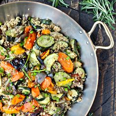 This colorful and nutritious gluten-free, vegetarian dish features whole grain superfood quinoa tossed with sweet, caramelized roasted vegetables.