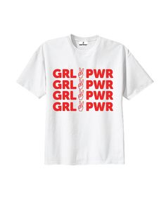 Girl Power Tee Available in white Sizes S, M, L 50% Polyester/ 50% Cotton Made in USA 10% of proceeds donated to Planned Parenthood