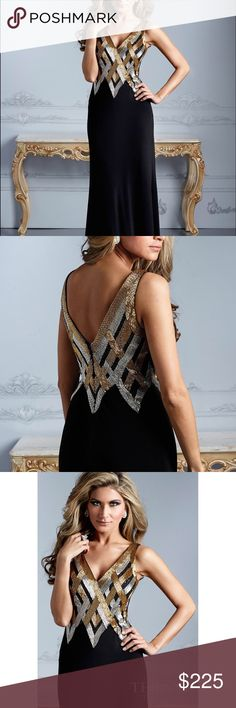 Brand new Beautiful  Terani Dress!  👗👗 New authentic Terani Dress. Long black dress with gold and silver beadwork at top. style number E2105 Terani Couture Dresses