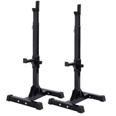 Muorka Pair of Adjustable Barbell Stands Racks Bench Press Stands Rack Sturdy Steel Squat Dumbbell Racks. The rack is made of carbon steel that provides the maximum safety and max load: 390 lbs. It also provides adjustable spotters on each post that ensure your safety. H frame bases ensures the balance and stability of unit. Quick shipping of the Squat Stands to your home or business. Needs assembly- Intructions included for easy set-up. Ideal for pressing, bench or standing. Great choice...