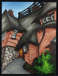 "Martin Machacek Paintings - I title this piece ""Dali House"". Art Graf, 2d Art, Norfolk, Pacific Northwest, Home Art, Street Art, Art Gallery, Illustration Art, Victoria"