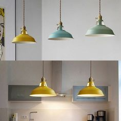 Industrial Hanging Pendant Light with Colorful Barn Shade 1 Light Pendant for Dining Table Restaurant Kitchen-White/Black/Blue/Green/Grey/Pink/Yellow, Fashion Style Industrial Lighting Pendulum Lights, Light Blue Kitchens, Pendant Lighting, Light Pendant, Overhead Lighting, Lighting Ideas, Restaurant Kitchen, Hanging Pendants, Modern Farmhouse Kitchens