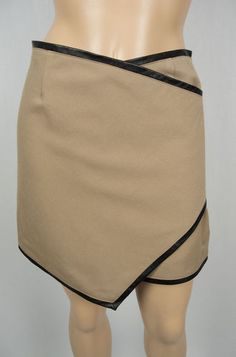 ALEX & ELI Mini Skirt 0 XS Brown With Black Leather Trim Handcrafted 100% Wool