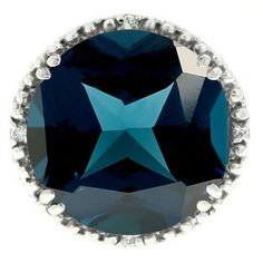 Large Round London Blue Topaz Gemstone Diamond Ring In White Gold Available Exclusively at Gemologica.com