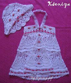 White Sundress and Panama Baby Hat free crochet graph pattern