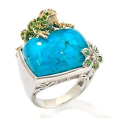 big turquoise ring with a frog...yes please!