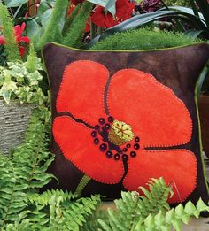 That's One Big Poppy Wool Applique Throw Pillow by the Wooly Lady