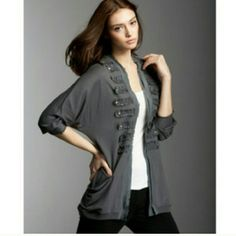 HPAnthropologie Leifsdottir Military Cardi Host pick 4/15/15!!!   Beautiful and barely worn, sad re-posh. Anthropologie's brand Leifsdottir. Gray, Military-style, soft Cardigan. Button design, as pictured, with pockets. Open Front. Tagged XS, but can fit up to a Small Medium. ONLY selling because I bought it on here awhile back and tried to make it work. Just a tad bigger than I was hoping. Viscose and Linen. Soft. Just trying to get my money back. Great with jeans or slacks, or leggings…