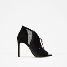 LACE-UP LEATHER HIGH HEEL ANKLE BOOTS from Zara