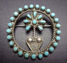 Vintage ZUNI Sterling Silver & TURQUOISE Snake Eye Petit Point PIN/BROOCH Flower