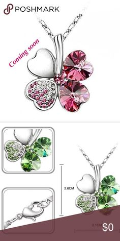 Pink lucky clover necklace High quality white gold plated. Resistance to rust, corrosion, tarnishing and requires minimal maintenance in order to keep jewelry looking like new Designed with 4 heart shaped clover leaves in wishing best luck to wearers with full heart. Set with heart shaped Austrian crystals and 23 gradual color Czech rhinestones Jewelry Necklaces