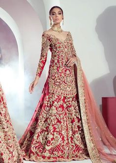 Mohsin Naveed Ranjha - Ghar Naari collection available to order Mumtaz, a bridal consisting of a silk pishwas with… Asian Bridal Dresses, Pakistani Wedding Outfits, Pakistani Bridal Dresses, Pakistani Wedding Dresses, Pakistani Dress Design, Bridal Outfits, Wedding Attire, Dress Wedding, Indian Dresses