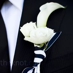 White Rose and Lily Boutonniere