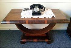 Art Deco U shaped table with Bakelite phone.  By Decolish.com